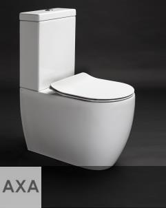 Axa Stand-WC mit Spülkasten Glomp | spülrandlos | 66cm | mit WC-Sitz weiß