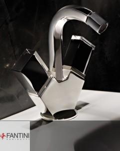Einloch-Bidetarmatur | Venezia | chrom | Griffe: Muranoglas schwarz