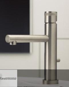 Treemme | Einhebelmischer Vela | nickel gebürstet | kurze Auslauflänge | 50mm Erhöhung | Griff: VZ