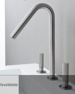 3-Loch-Waschtischmischer 22mm | Zweigriff-Bedienung | Edelstahl gebürstet | Auslaufhöhe: 210mm