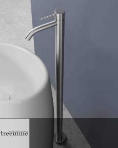 Treemme | bodenstehender Einhebelmischer 40mm | Edelstahl matt | Auslaufhöhe 1040mm