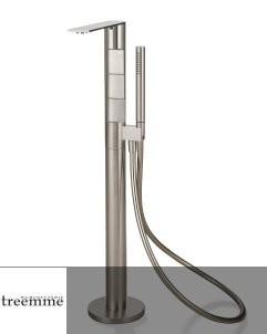 Zweigriff-Wannenfüllarmatur freistehend | Serie 5mm | Edelstahl gebürstet