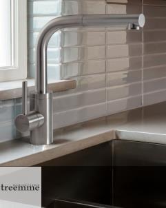 Treemme | Einhebelmischer für Küchenspülen | Serie 40mm | Edelstahl matt | Auslauflänge: 243mm
