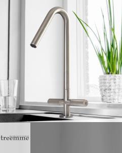 Treemme | Zweigriff-Mischer für Küchenspülen | Serie 22mm | Edelstahl gebürstet