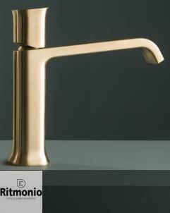 Ritmonio | Waschtischarmatur Taormina | gold gebürstet | langer Auslauf | Knaufgriff