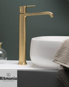 Ritmonio | Waschtischarmatur Taormina | hoher Auslauf | gold gebürstet | Hebelgriff