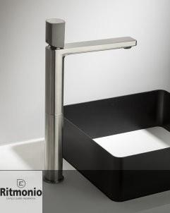 Einhebelmischer Haptic hoch  | nickel gebürstet | Griff Beton