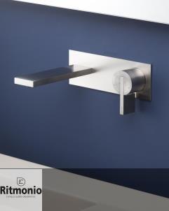 RITMONIO Wandauslaufmischer DOT316 | mit Wandplatte