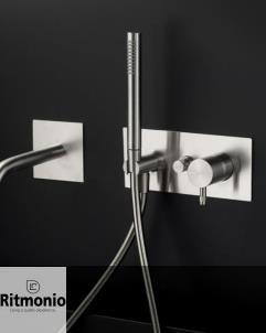 Unterputz-Duschenmischer Diametrotrentacinque | mit Auslauf | Edelstahl gebürstet