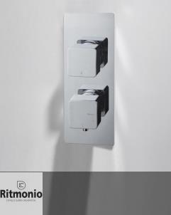 2 oder 3 Wege Unterputzthermostat Glitter | chrom