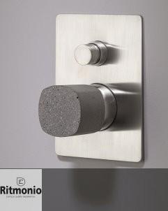 Zweiwege-Unterputzmischer Haptic | nickel gebürstet | Griff Beton