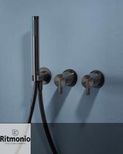 Unterputz-Duschenmischer DOT316 | Edelstahl schwarz gebürstet