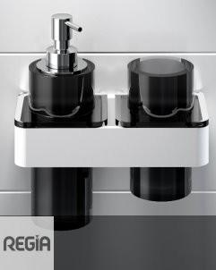 Regia | Accessoirsystem Ruben | 20cm | mit Becherhalter, Seifenspender in Vetroghiaccio brombeere