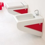 Art Ceram Wandbidet undf WC Serie La Fontana | weiß/rot