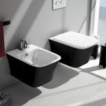 Cow | Wand-Bidet und Wand-WC | schwarz/ weiß