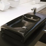 Hidra | Aufsatzwaschtisch mit Hahnloch | Hi-Line | schwarz glänzend