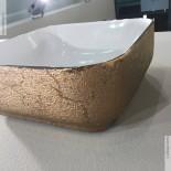 Aufsatz-Waschschale Giò 43 | weiß / bronce sand | mit dünnem Rand