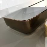 Aufsatz-Waschschale Giò 43 | weiß / rosegold (063) | mit dünnem Rand