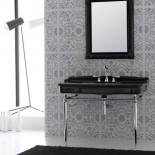 Hidra | Ellade | klassische Waschtischkonsole in schwarz mit Chromuntergestell