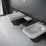 Hidra | Flat | Wand-WC und Bidet | weiß/schwarz |  Accessoirs Piano