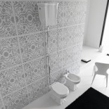 Ellade Stand-WC mit Bodenabgang | mit hohem Wandspülkasten | Zugkette