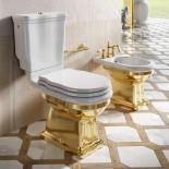 Ellade Stand-WC mit Bodenabgang | mit Aufsatzspülkasten | Druckbetätigung | weiß/gold