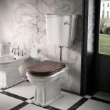 Ellade Stand-WC mit Bodenabgang | mit Wandspülkasten | Hebelbetätigung | WC-Sitz in Walnuss
