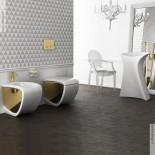 Hidra | Stand-Bidet und Stand WC Hi-Line | weiß / gold | (013)