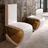 Hidra   Stand-WC mit Spülkasten   Hi-Line   weiß / gold