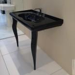 GSG | Time | klassischer Waschtisch mit Beinen | 105cm | schwarz glänzend