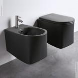 Axa Wand-WC und Bidet DP | spülrandlos | 50cm | mit WC-Sitz schwarz matt