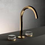 3 Loch-Armatur Venezia | Gold Plus | Griffe: Kristallscheiben - schwarz