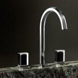 3 Loch-Armatur Venezia | chrom | Griffe: Muranoglas - schwarz