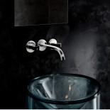 Wandarmatur Venezia | chrom | Griffe: Muranoglas schwarz