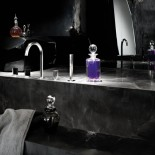 Wannenrandarmatur Venezia | Silber | Griffe: Muranoglas schwarz