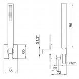 Fantini Handbrauseset 8068 | Abmessungen