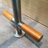 Zweigriffmischer 22mm | Edelstahl gebürstet | Griffe in Holz