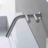 Unterputz-Waschtischmischer 22mm | Zweigriff-Bedienung rechts | Edelstahl gebürstet
