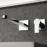 Treemme | Wandauslaufmischer | Serie Xero | Chrom | Einzelrosetten | langer Auslauf