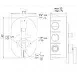 Pao | 2-Wege Unterputzmischer | Zeichnung
