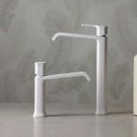 Ritmonio | Waschtischarmatur Taormina | weiß matt (C03) | langer Auslauf | Knaufgriff | (für hohe Armatur siehe sep. Angebot)