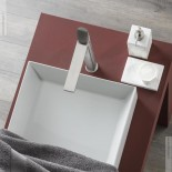 Einhebelmischer Haptic hoch | nickel gebürstet | Griff: Beton Capsule | Design: Simone Micheli