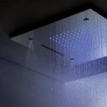 Regenbrause mit Wasserfall, Zerstäuberdüsen und Licht | Einbaudeckenbrausepaneel 50x50 cm | edelstahl poliert