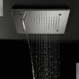 Regenbrause mit Wasserfall und Nebeldüsen | Einbaudeckenbrausepaneel 50x50 cm | edelstahl poliert