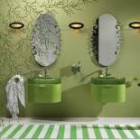 Regia Waschtisch Bilbao | Waschbecken: Vetroghiaccio apfelgrün (54) | Schubladenelement: grün glänzend lackiert (24)