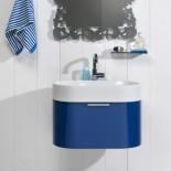 Regia Waschtisch Bilbao | Waschbecken: Tecnoglass weiß (51) | Schubladenelement: nachtblau glänzend lackiert (20)