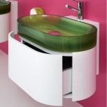 Regia Waschtisch Bilbao | Waschbecken: Vetroghiaccio apfelgrün (54) | Schubladenelement: weiß lackiert
