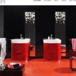 Regia Waschtisch Bilbao | Waschbecken: Tecnoglass weiß (51) | Unterschrank: rot glänzend lackiert (23)