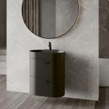 Regia Waschtisch Bilbao | Waschbecken: mineral matt  | Unterschrank: schwarz matt