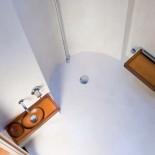 Hamam Waschbecken Mini mit Wasserschale | Kunstharz bernsteinfarben (Armatur: Serie Nostromo)